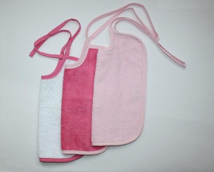 Badstof slabbetje wit met pink, pink met licht roze, licht roze