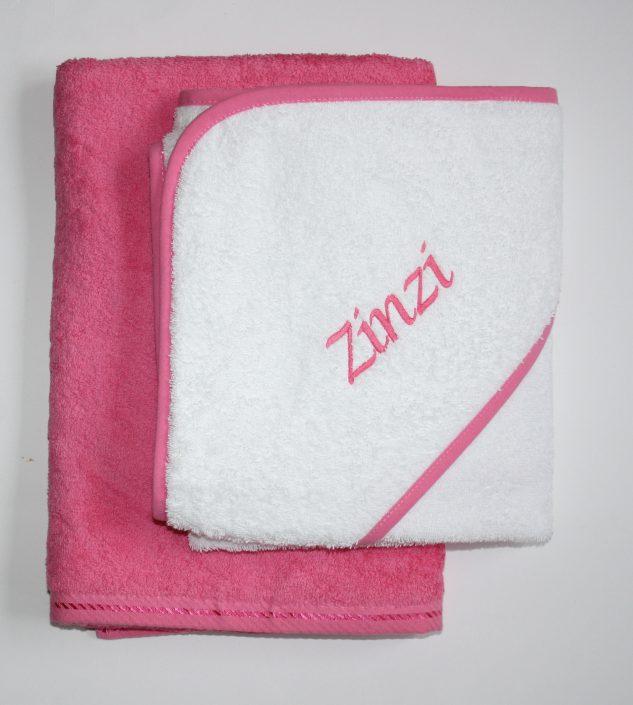 Badstof omslagdoek wit-pink
