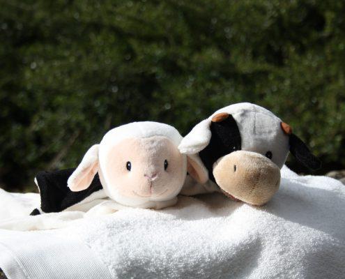 Knuffels Boe de koe en Lisa het lammetje kunnen met een naam geborduurd worden
